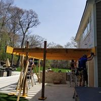 during construction photo showing the side view of the custom deck